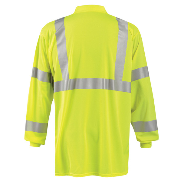 Occunomix Class 3 Hi Vis Moisture Wicking Long Sleeve Polo with Pocket LUX-LSPP3B Yellow Back