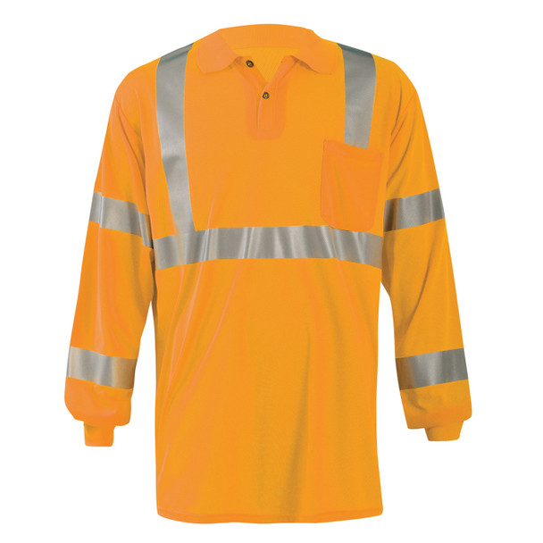 Occunomix Class 3 Hi Vis Moisture Wicking Long Sleeve Polo with Pocket LUX-LSPP3B Orange Front