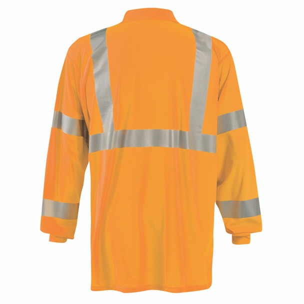 Occunomix Class 3 Hi Vis Moisture Wicking Long Sleeve Polo with Pocket LUX-LSPP3B Orange Back