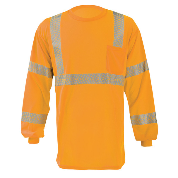 Occunomix Class 3 Hi Vis Long Sleeve T-Shirt with Segmented Tape and Chest Pocket LUX-TLSP3B Orange Front