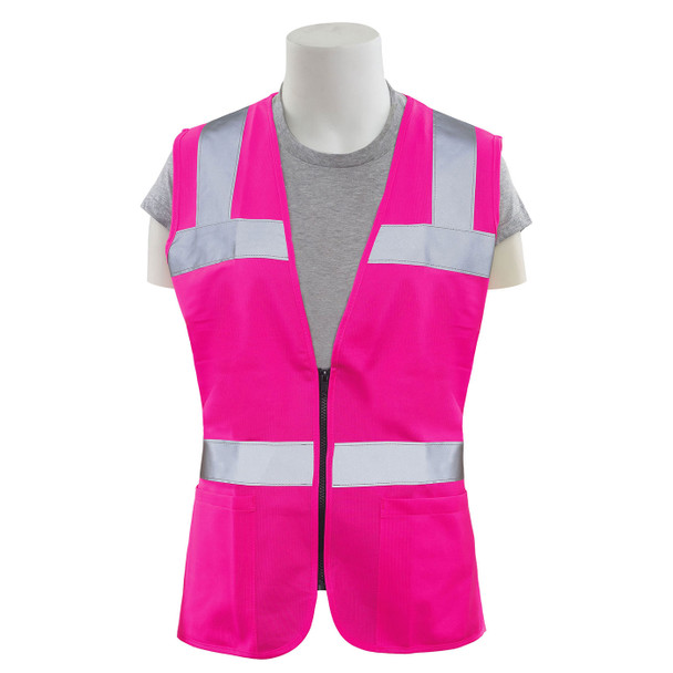 Girl Power at Work Non-ANSI Hi Vis Pink Ladies Fitted Vest S721 Front