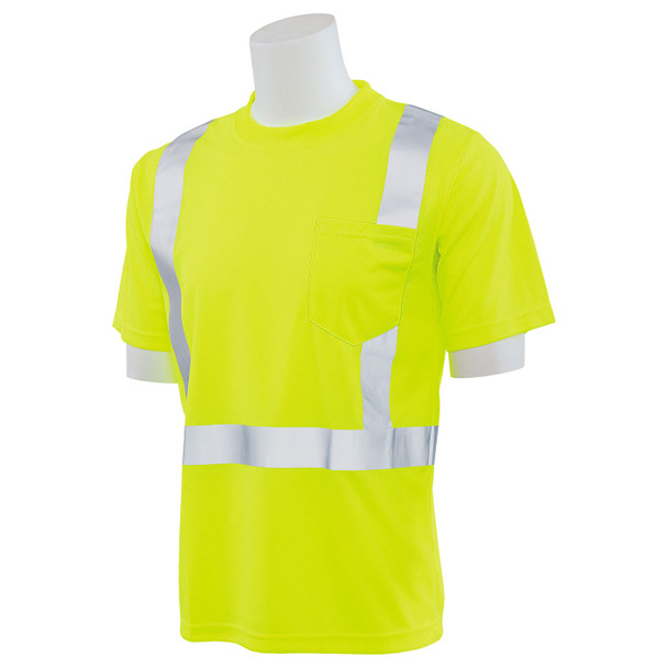 ERB Class 2 Hi Vis Lime Moisture Wicking T-Shirt 9006S-L Right Profile