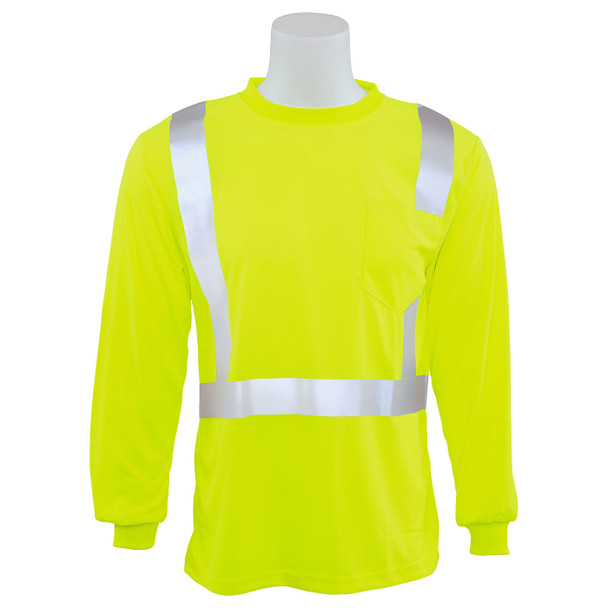ERB Class 2 Hi Vis Lime Moisture Wicking Long Sleeve T-Shirt 9007S-L Front