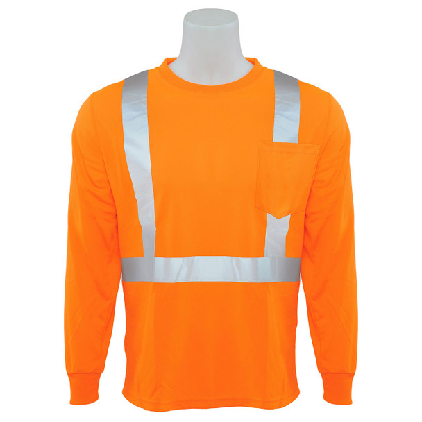 ERB Class 2 Hi Vis Orange Moisture Wicking Long Sleeve T-Shirt 9007S-O Front