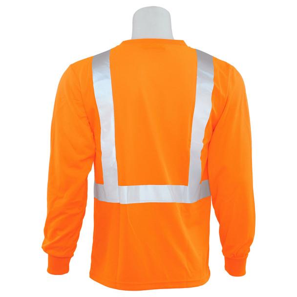 ERB Class 2 Hi Vis Orange Moisture Wicking Long Sleeve T-Shirt 9007S-O Back