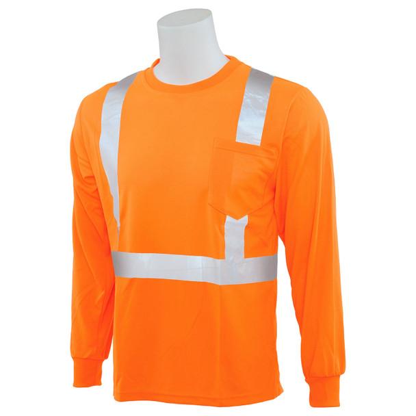 ERB Class 2 Hi Vis Orange Moisture Wicking Long Sleeve T-Shirt 9007S-O Right Side Profile