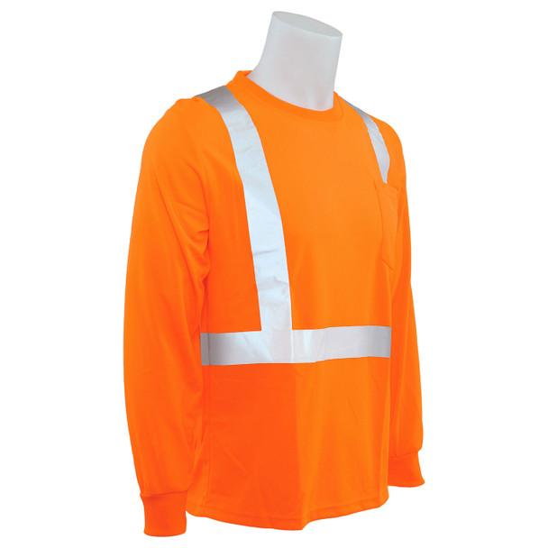 ERB Class 2 Hi Vis Orange Moisture Wicking Long Sleeve T-Shirt 9007S-O Left Side Profile