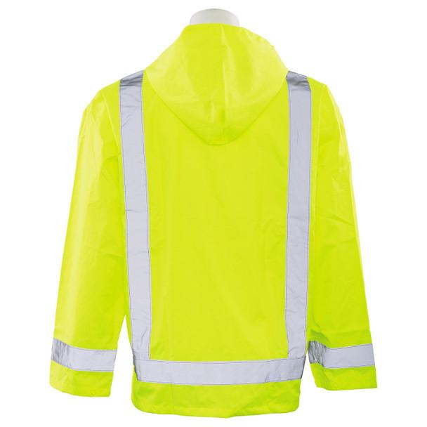 ERB Class 3 Hi Vis Lime Rain Jacket S373-L Back