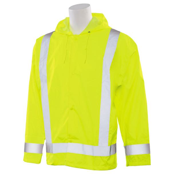 ERB Class 3 Hi Vis Lime Rain Jacket S373-L Left Side Profile