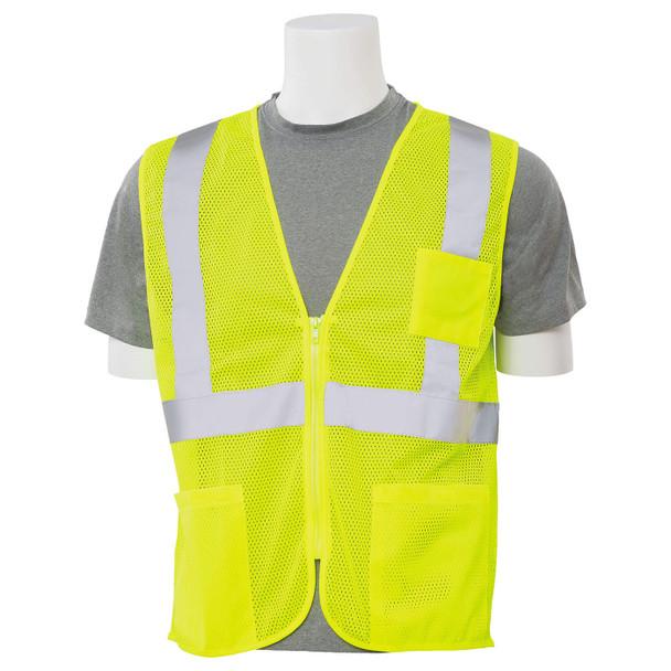 ERB Class 2 Hi Vis Lime Economy Mesh Safety Vest with Zipper Front S363P-L Front