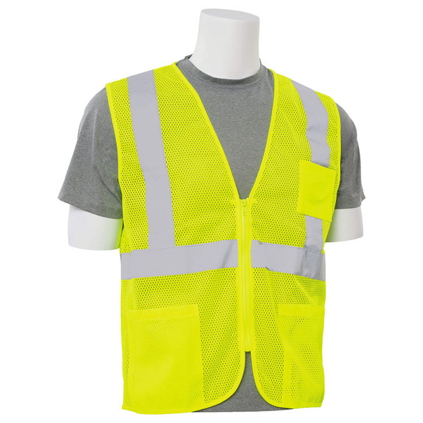 ERB Class 2 Hi Vis Lime Economy Mesh Safety Vest with Zipper Front S363P-L Right Side Profile