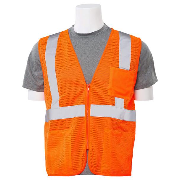 ERB Class 2 Hi Vis Orange Economy Mesh Safety Vest with Zipper Front S363P-O Front