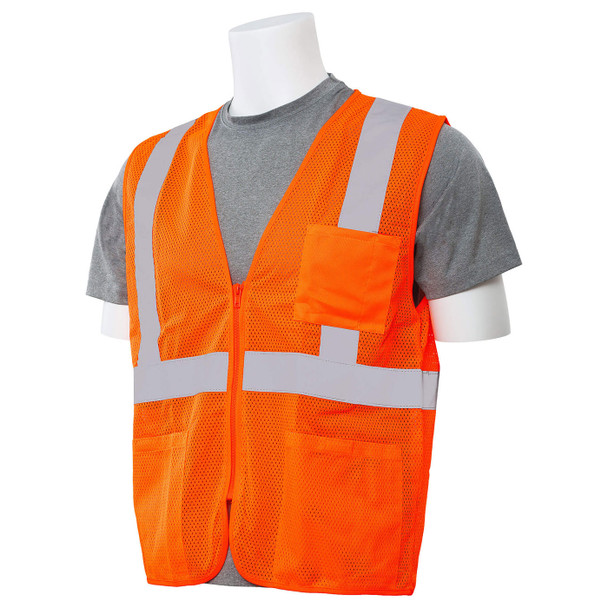 ERB Class 2 Hi Vis Orange Economy Mesh Safety Vest with Zipper Front S363P-O Left Side Profile