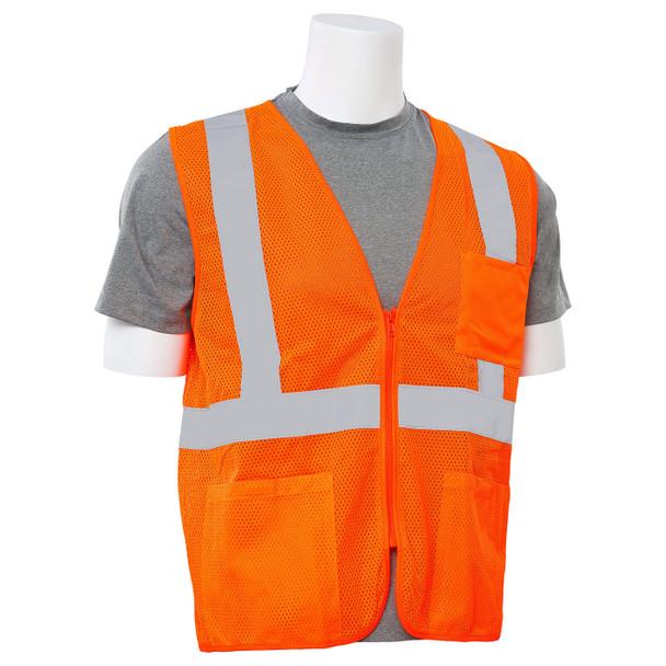 ERB Class 2 Hi Vis Orange Economy Mesh Safety Vest with Zipper Front S363P-O Right Side Profile