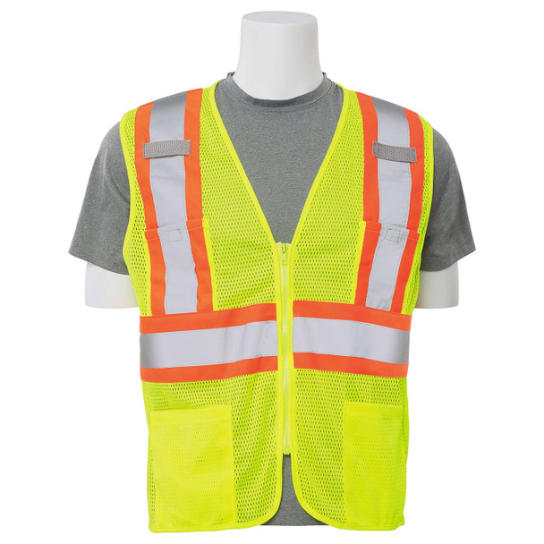 ERB Class 2 Hi Vis Lime Two-Tone Mesh Safety Vest with Zipper Front S383P-L Front