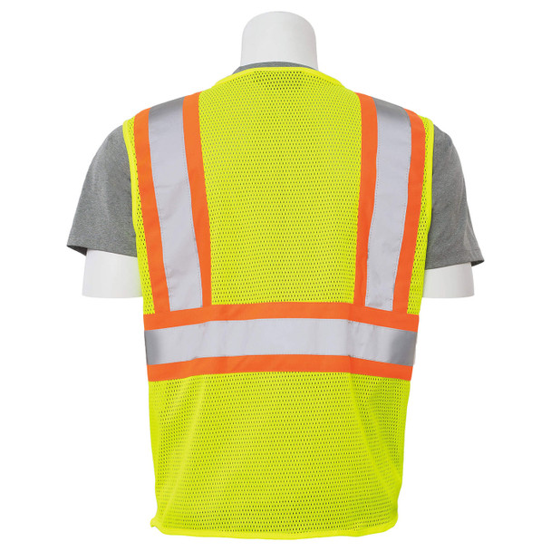 ERB Class 2 Hi Vis Lime Two-Tone Mesh Safety Vest with Zipper Front S383P-L Back