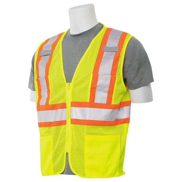 ERB Class 2 Hi Vis Lime Two-Tone Mesh Safety Vest with Zipper Front S383P-L Left Side Profile