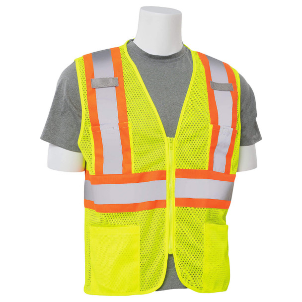 ERB Class 2 Hi Vis Lime Two-Tone Mesh Safety Vest with Zipper Front S383P-L Right Side Profile