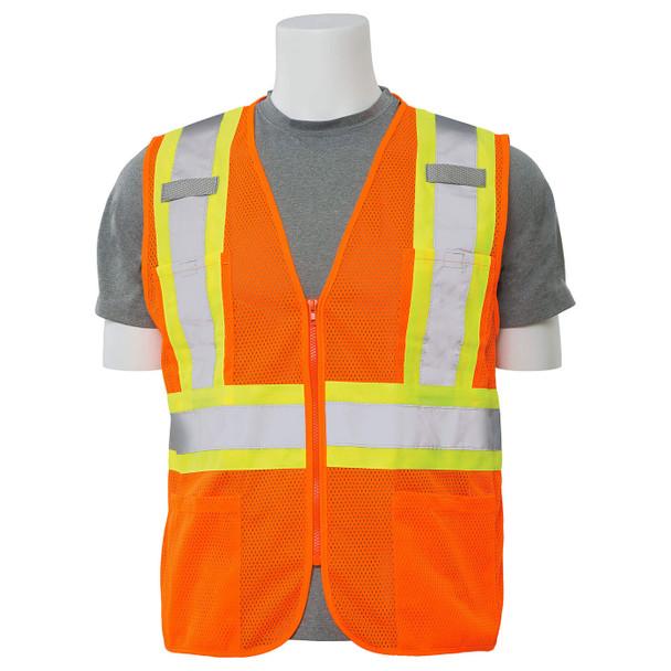 ERB Class 2 Hi Vis Orange Two-Tone Mesh Safety Vest with Zipper Front S383P-O Front