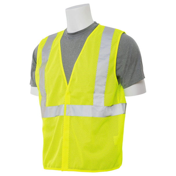 ERB Class 2 Hi Vis Lime Economy Mesh Safety Vest S362-L Left Side Profile