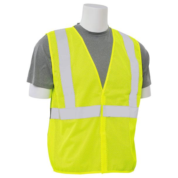 ERB Class 2 Hi Vis Lime Economy Mesh Safety Vest S362-L Right Side Profile