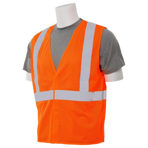 ERB Class 2 Hi Vis Orange Economy Mesh Safety Vest S362-O Left Side Profile