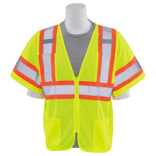 ERB Class 3 Hi Vis Lime Two-Tone Mesh Safety Vest S683P-L Front