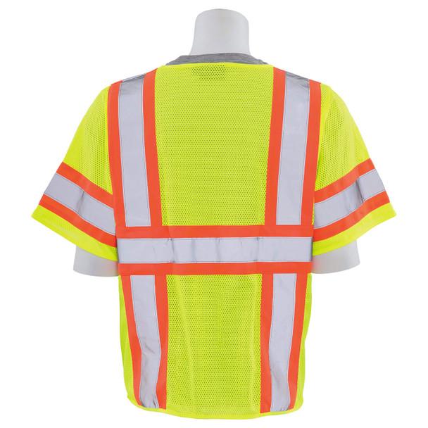 ERB Class 3 Hi Vis Lime Two-Tone Mesh Safety Vest S683P-L Back