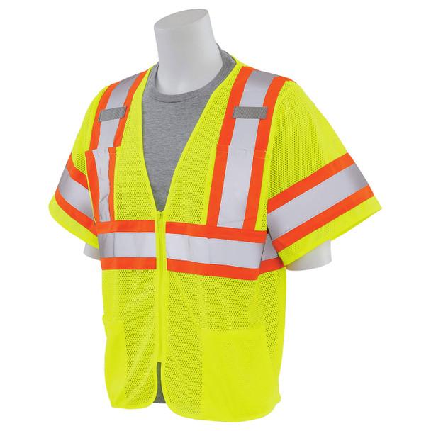 ERB Class 3 Hi Vis Lime Two-Tone Mesh Safety Vest S683P-L Left Side Profile