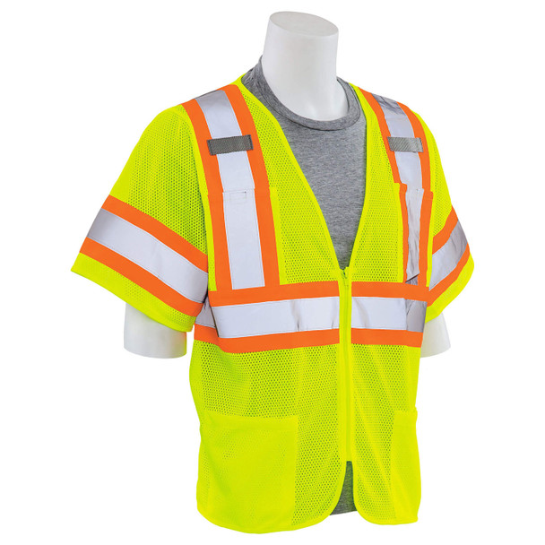 ERB Class 3 Hi Vis Lime Two-Tone Mesh Safety Vest S683P-L Right Side Profile
