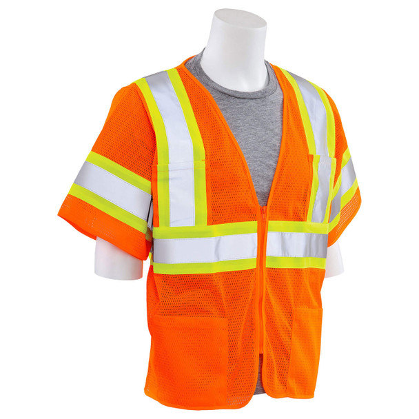 ERB Class 3 Hi Vis Orange Two-Tone Mesh Safety Vest S683P-O Right Side Profile