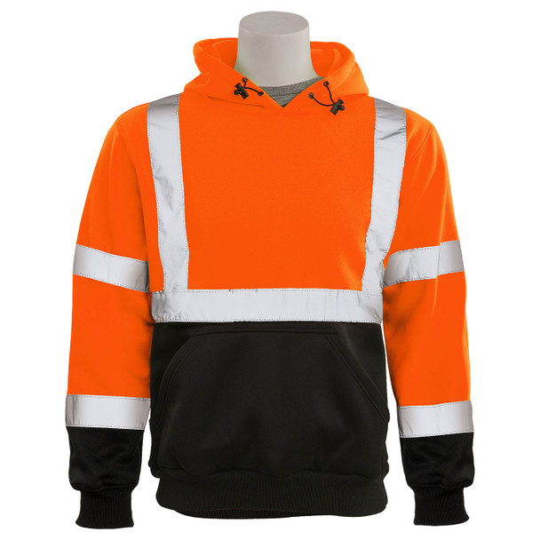 ERB Class 3 Hi Vis Orange Black Bottom Pullover Hooded Sweatshirt W376B-O Front