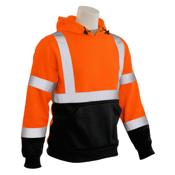 ERB Class 3 Hi Vis Orange Black Bottom Pullover Hooded Sweatshirt W376B-O Right Side Profile
