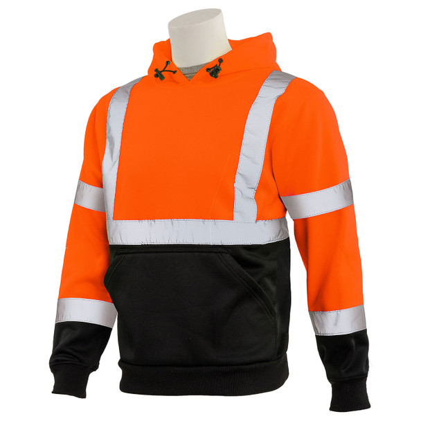 ERB Class 3 Hi Vis Orange Black Bottom Pullover Hooded Sweatshirt W376B-O Left Side Profile