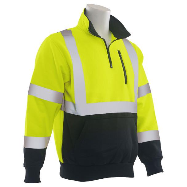 ERB Class 3 Hi Vis Lime Black Bottom Quarter Zip Sweatshirt W379B-L Right Profile
