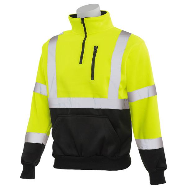 ERB Class 3 Hi Vis Lime Black Bottom Quarter Zip Sweatshirt W379B-L Left Profile