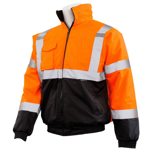ERB Class 3 Hi Vis Orange Black Bottom Bomber Jacket W105-O Left Side Profile