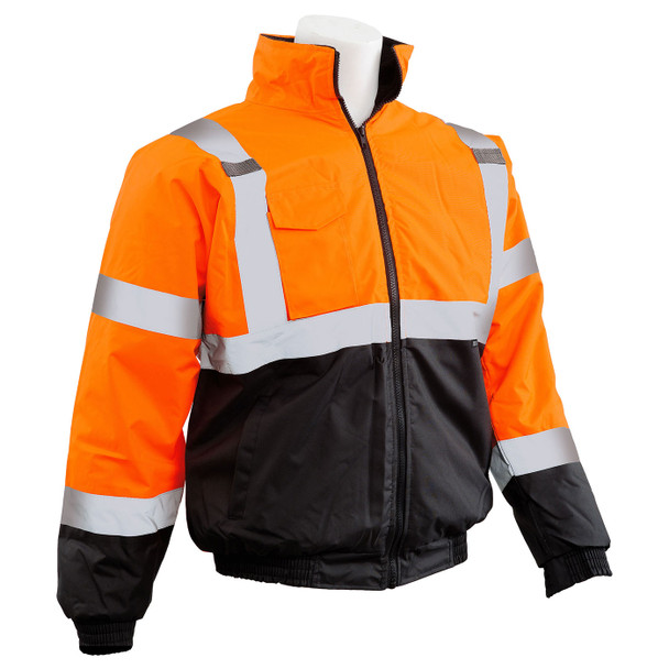 ERB Class 3 Hi Vis Orange Black Bottom Bomber Jacket W105-O Right Side Profile