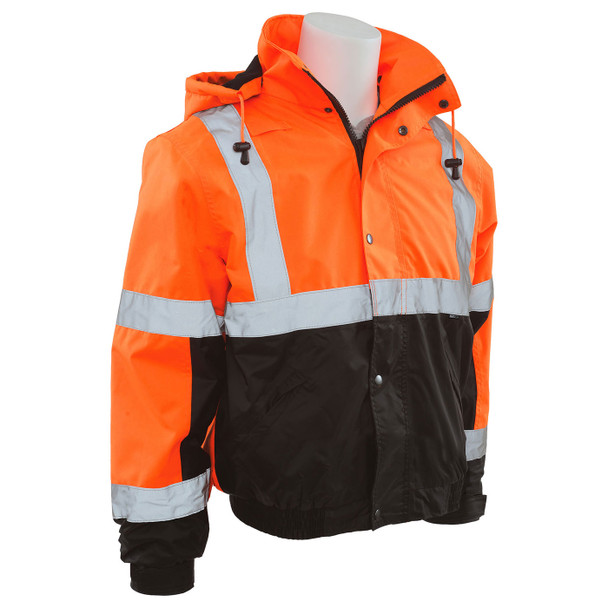 ERB Class 3 Hi Vis Orange Black Bottom Bomber Jacket with Storm Flap and Hood W106-O Right Side Profile