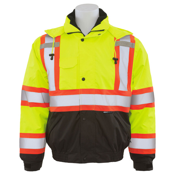 ERB Class 3 Hi Vis Lime Two-Tone Black Bottom 3-in-1 Bomber safety Jacket W550 Front