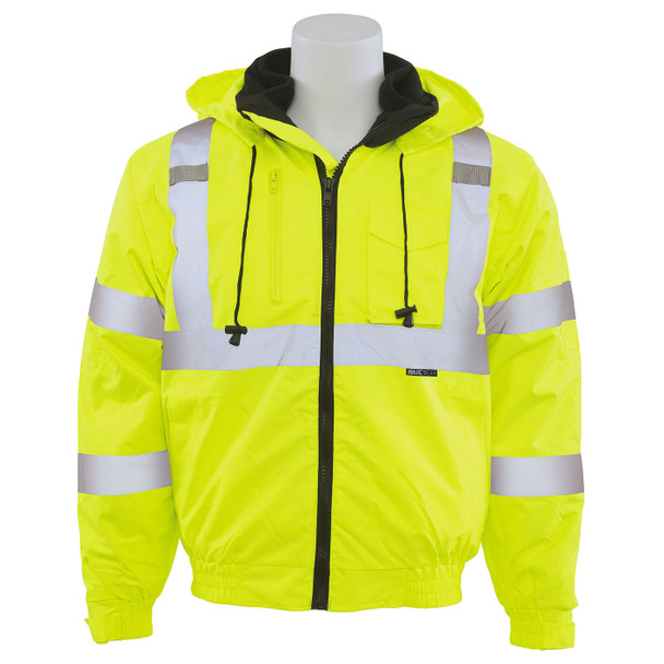 ERB Class 3 Hi Vis Lime 3-in-1 Bomber Safety Jacket W510 Front