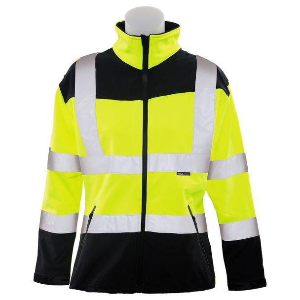 ERB Ladies Class 2 Hi Vis Lime Black Bottom Soft Shell Safety Jacket W651 Front