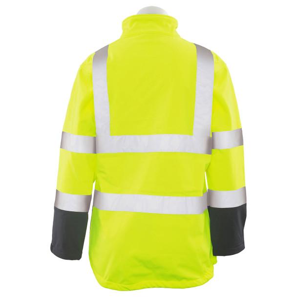 ERB Ladies Class 2 Hi Vis Lime Black Bottom Soft Shell Jacket W651 Back