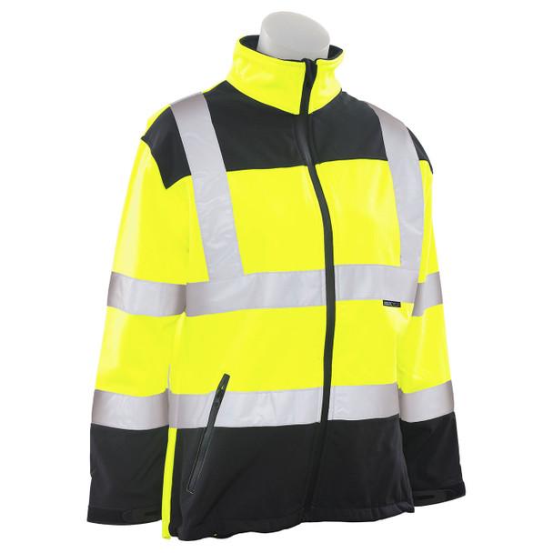 ERB Ladies Class 2 Hi Vis Lime Black Bottom Soft Shell Jacket W651 Right Side Profile