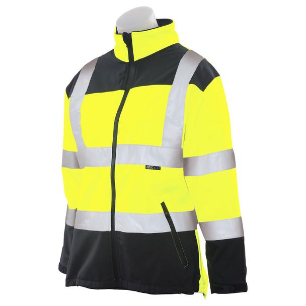 ERB Ladies Class 2 Hi Vis Lime Black Bottom Soft Shell Jacket W651 Left Side Profile