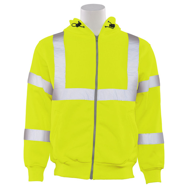 ERB Class 3 Hi Vis Lime Zip-Front Hooded Sweatshirt W375 Front