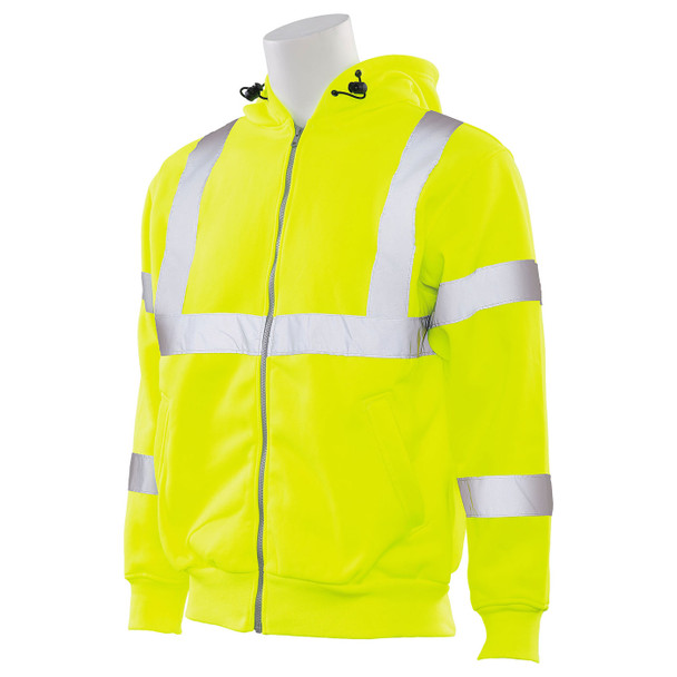 ERB Class 3 Hi Vis Lime Zip-Front Hooded Sweatshirt W375 Left Side Profile