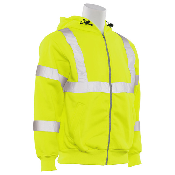 ERB Class 3 Hi Vis Lime Zip-Front Hooded Sweatshirt W375 Right Side Profile