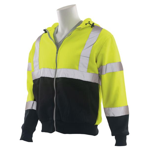 ERB Class 3 Hi Vis Lime Black Bottom Zip-Front Hooded Sweatshirt W375B Left Side Profile