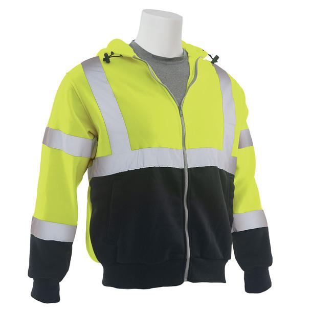 ERB Class 3 Hi Vis Lime Black Bottom Zip-Front Hooded Sweatshirt W375B Right Side Profile